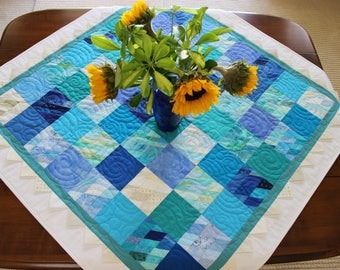 "Blue, Teal, Turquoise and White 40"" x 40"" Handmade Patchwork Table Quilt with Prairie Points"