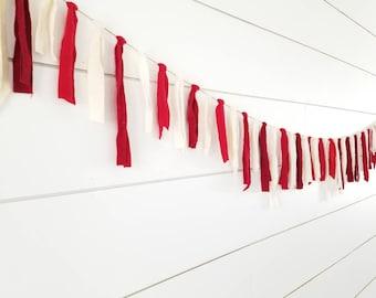 Valentine Garland // Red and White Garland // Fabric Garland // Valentine Decoration // Home Decor