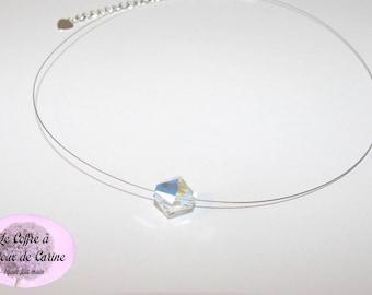 """Necklace """"my"""" Swarovski crystal - wedding party ceremony day Christmas birthday baptism gift"""