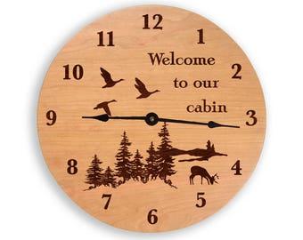Cabin clock, cabin wall clock, wood clock, lodge clock, custom clock, cherry clock, laser engraved clock CL6007