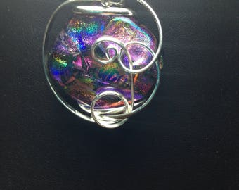Handcrafted Dichroic Glass Wire Wrapped Pendant