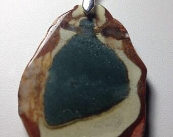 Unique Jasper Pendant With Free Sterling Silver Chain