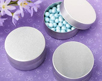 Covered Round Shaped Brushed Silver Mint Tins (Pack of 10) Favor Containers