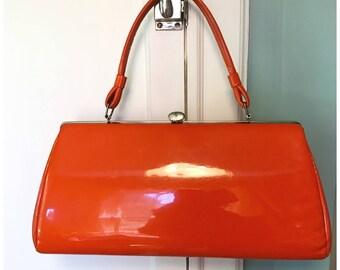 Vintage Purse, 1960's MAD MEN style, Mid Century,  Handbags and Purses, Pocketbook, Orange Vinyl,  Vintage Purses