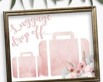 Luggage Drop Off, Travel Themed Bridal, Bridal Shower Sign, Destination Wedding, Wedding Signs, Bridal Shower, Beach Weddings, Floral
