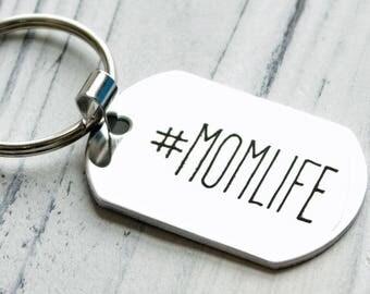 Hashtag Momlife Personalized Key Chain - Engraved