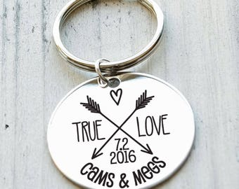 True Love Couple  Personalized Key Chain - Engraved