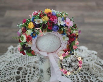 Sitter Flower Bonnet Wild Flowers Hat Baby Girl Photo Prop Floral UK Seller LouLouBoutique Photography Props