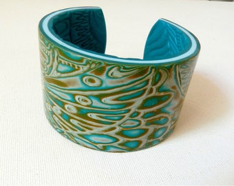Cuff Bracelet, polymer, ochre, blue Peacock, ethnic design