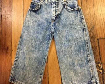 60s vintage kids highwaisted jeans Billy the kid acid washed denim 2T toddler rockabilly retro VTG baby childrens 70s pants hipster punk kid