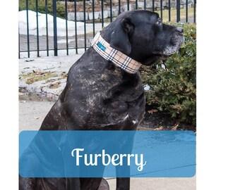 Large Wide Plaid Cotton Dog Collar for Mastiff Great Dane Doberman Pitty Big Dog by LaVilla