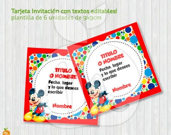 AWSOME MICKEY CARD! Tag also! Printable square Invitation with editable texts! Instant Download!