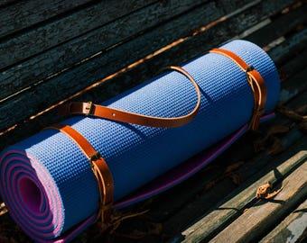 Yoga Leather bag - Strap for Yoga mats- Leather belt for yoga- Yoga accessories -Blanket Strap