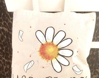 original and unique cotton  tote bag. hand-painted bag. cute shopping bag. margarite design, yes or no. unique gift.