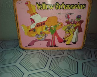1968 Yellow Submarine Beatles Lunchbox by King - Seeley Thermos based on popular t.v. show in fair condition
