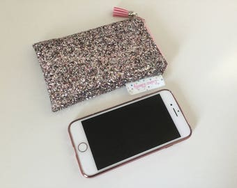 fabric IPhone cell phone pouch/cover glitter