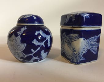 Blue and White Lotus Blosssom Ceramic Vintage Knick Knacks