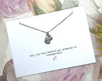 Only The Best Parents Get Promoted To Grandparents - Necklace Card Gift - Personalised - Gift For Her - Message Card Jewellery