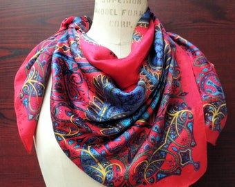 Charter Club LARGE Vintage Silk Scarf: Hip Retro Fashion Headscarf. Rich Paisley on Red. Valentine, Mother's Day, Birthday Gift. 35 in SC176