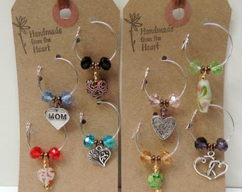 """Set of 8 Drink Tags, Crystal Celebration Keepsake, Wine Charms: """"Mom"""", """"Happy Birthday"""" or """"Happy Anniversary"""" Party Favor, Wine Lover WC116"""