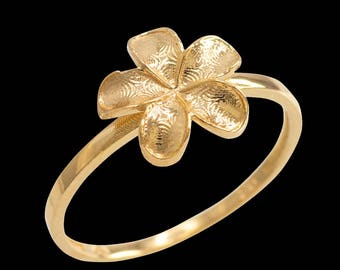 Yellow Gold Smooth Hawaiian Plumeria Flower Ring, New Flower Rings , Hawaiian Rings , flower rings for women , new rings , gold ring , new!!