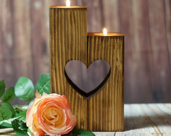 Reclaimed Wood Candle Holder, Rustic Tealight Holder, Rustic Decor, Wooden Tealight Holder, Rustic Home Decor, Heart Candle, Sweetheart, Mom