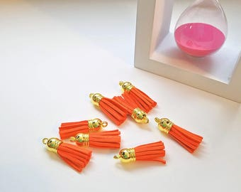 Orange Tassels - Small Tassels - 10 Orange Tassel Charms - Gold Cap Key Chain Tassels - Tassels For Jewelry Making, Wine Charms - TC-G053