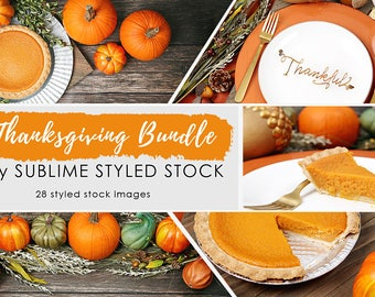 Thanksgiving Stock Photos /  Fall Background / Bundle of 28 Styled Images / Stock Photos / Pumpkins / Table Setting / Social Media Images