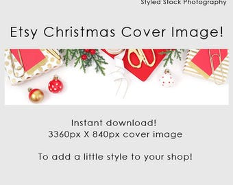Etsy Cover Photo / Christmas / Etsy Cover Image / Premade / Etsy Banner / Holiday / Shop Banner / Cover Image / Stock Photo / Style-129