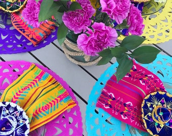 Set of 4 papel picado table centerpiece or placemats, cut tissue paper rounds, Mexican fiesta decorations, Party supplies, 4 color set