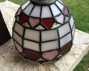 Stained Glass Lamp Shade, Vintage Glass Lamp Shade