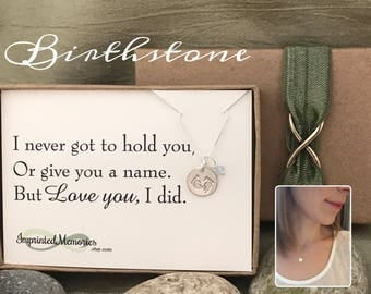 Miscarriage necklace Loss of baby - TINY sterling silver baby feet gemstone birthstone jewelry - gift for mom - stillborn - pregancy loss