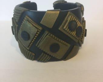 Geometric polymer clay cuff bracelet