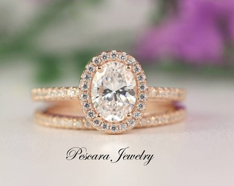 1.8ct tw  Rose Gold Oval Halo Engagement Ring set - Oval Cut Ring - promise ring - diamond stimulant -Sterling Silver