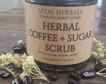 Herbal coffee & sugar scrub, yarrow scrub, herbal exfoliant, sugar scrub, coffee scrub, organic scrub