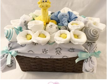 Gender Neutral Baby Gift Basket - Jungle Safari Elephant and Giraffe Basket/Co-Worker/Corporate  Baby Gift