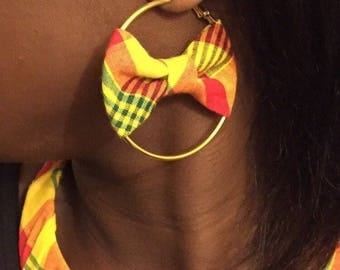 Earring madras & Creole Gold 6cm