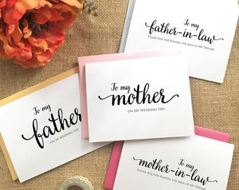 To my mother card mother of the bride card To my father card Father of the bride card Mother of the Bride Gift Father of Bride Gift