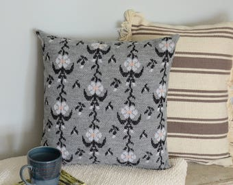 Floral Grey Sweater Pillow