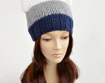 Strip Cat Hat, Cat Ear Beanie, Strip Hat, Cat Ears, Cat Ear Hat, Cat Beanie, Womens Hats, Bonnet Femme, Knitted Hat, Ear Hat, Knit Hat