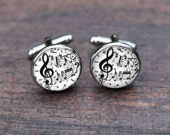 Cuff links Music Sheet Cufflinks Music Note Silver Treble Clef for Musicians Wedding Party for Fathers Dads Men's Gift Musical