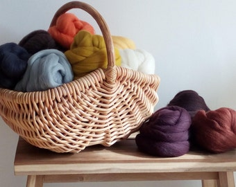 100% Wool Tops Roving Felting  Spinning, 10 colours, 10 - 100 grams