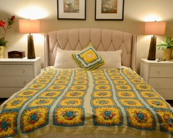 Crocheted Granny Square Throw Blanket - Turquoise Yellow Cream