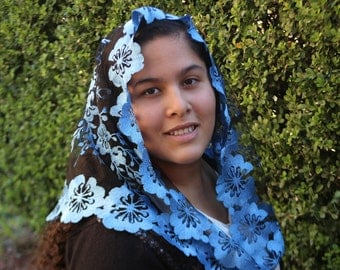 Blue mantilla-Traditional Chapeil Veil -Chapel Veil Mantilla - Latin Mass Blue Veil