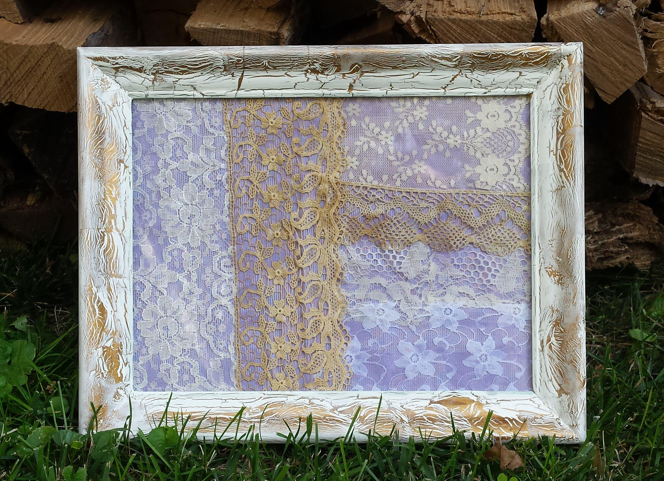 Hand Framed Vintage Lace Collage Under Glass Wood Frame Shabby Chic ...