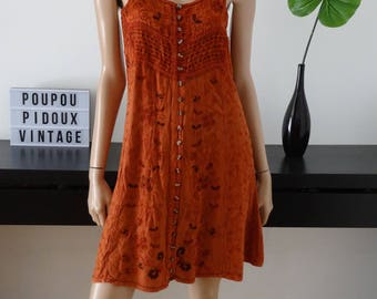 robe vintage KANDJI hippie folk bohème broderies coloris rouille taille 36 - uk 8 - us 4