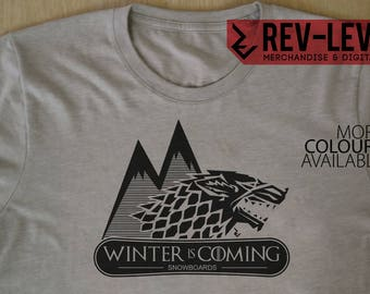 Game of Thrones Winter Is Coming Snowboard T-Shirt - GoT House Stark Sigil Parody Snowboarding Tee by Rev-Level