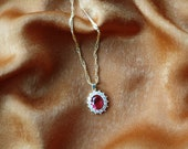Like a Virgin Necklace - Gold Chain Necklace - Gold Necklace - Pendant Necklace - Ruby Necklace - CZ Necklace