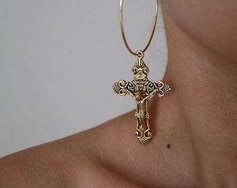 Summer Fling Cross Hoop Earrings - Gold Earrings - Hoop Earrings - Dangle Earrings - Cross Earrings - Large Hoop Earrings - Large Cross