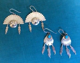 Vintage Native American Sterling Silver Earrings Lot